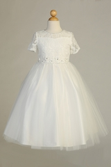 Blossom BL307 Ivory Short Sleeve Lace Tulle Dress w/ Floral Waistband