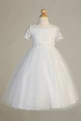 Blossom BL307 White Short Sleeve Lace Tulle Dress w/ Floral Waistband