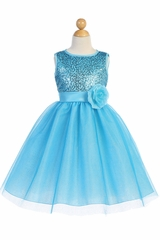 Blossom Father- Daughter BL245 Aqua Sequined Mesh & Glitter Tulle Dress