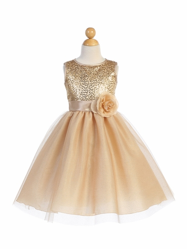 Blossom Father- Daughter BL245 Gold Sequined Mesh & Glitter Tulle Dress