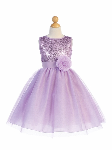 Blossom Father- Daughter BL245 Lilac Sequined Mesh & Glitter Tulle Dress