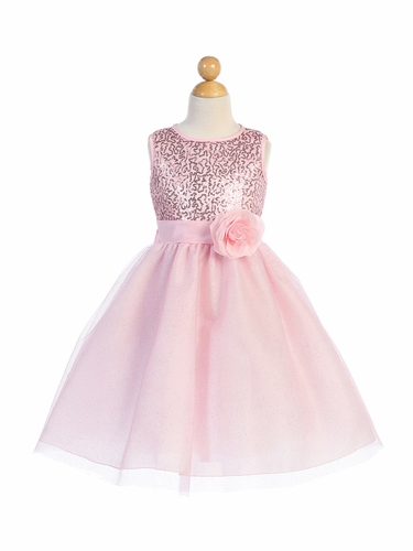 Blossom Father- Daughter BL245 Pink Sequined Mesh & Glitter Tulle Dress