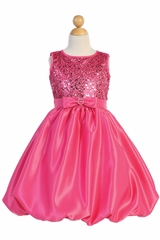 Blossom Father- Daughter BL246 Fuchsia Sequined Mesh & Satin Bubble Dress