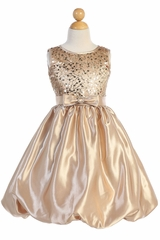 Blossom Father- Daughter BL246 Gold Sequined Mesh & Satin Bubble Dress