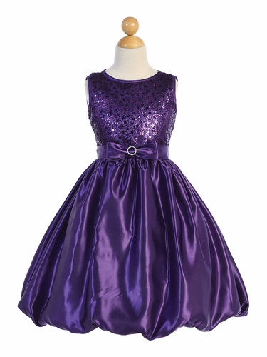 Blossom Father- Daughter BL246 Purple Sequined Mesh & Satin Bubble Dress