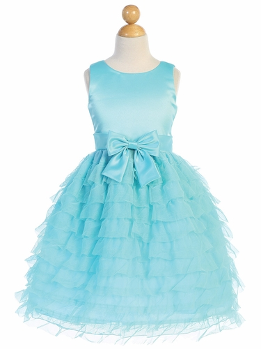 Blossom Father-Daughter BL248 Aqua Satin & Ruffled Tulle