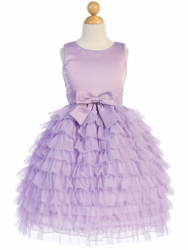 Blossom Father-Daughter BL248 Lilac Satin & Ruffled Tulle