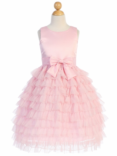 Blossom Father-Daughter BL248 Pink Satin & Ruffled Tulle