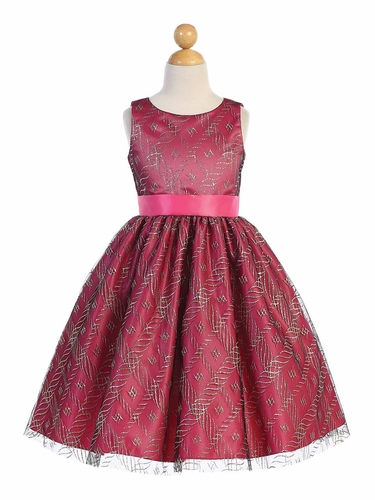 Blossom Father- Daughter BL249 Glitter Tulle Over Fuchsia Satin Dress