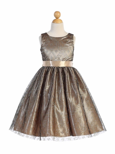 Blossom Father- Daughter BL249 Glitter Tulle Over Gold Satin Dress