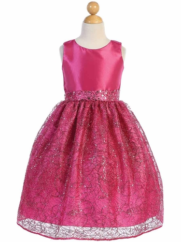 Blossom Father- Daughter BL252 Fuchsia Taffeta w/ Corded Netting Dress