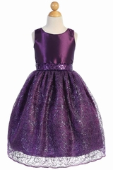 Blossom Father- Daughter BL252 Purple Taffeta w/ Corded Netting Dress