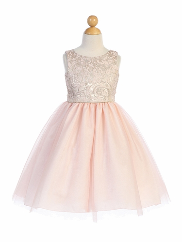 Blossom Father- Daughter BL253 Pink Jacquard & Tulle Dress