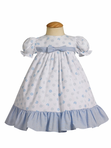 Blue Cotton Print Baby Dress