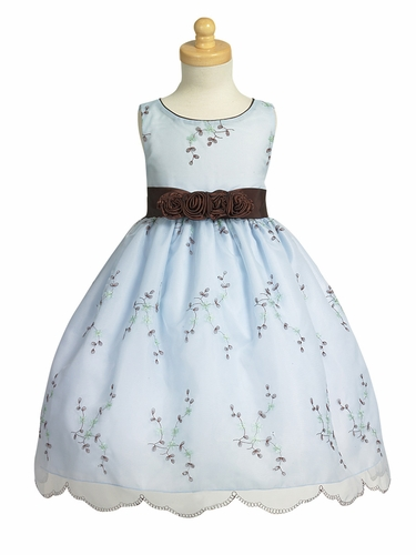 Blue Embroidered Organza Dress w/ Taffeta Waistband