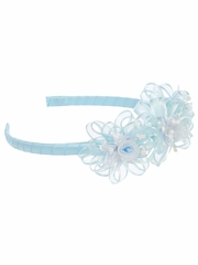 Blue Headband w/ Rosebuds