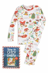 Books To Bed White How to Catch Santa Pajama Set