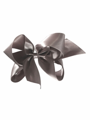 "Bows Arts Dark Gray 5"" Sweetheart Satin Clip"
