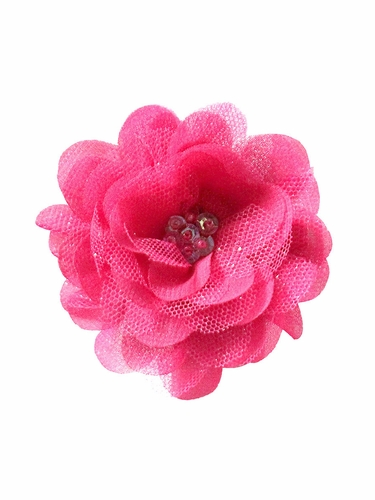 Bows Arts Fuchsia Mini Sparkle Chiffon Flower