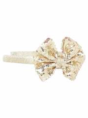 Bows Arts Gold Headband Removable Sequined Bow