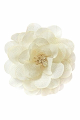 Bows Arts Ivory Mini Sparkle Chiffon Flower