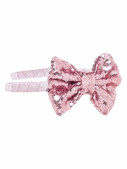 Bows Arts Pink Headband Removable Sequined Bow