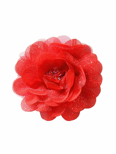 Bows Arts Red Mini Sparkle Chiffon Flower