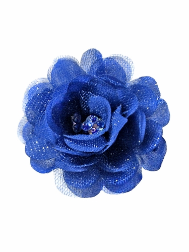 Bows Arts Royal Blue Mini Sparkle Chiffon Flower