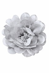 Bows Arts Silver Mini Sparkle Chiffon Flower