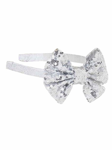 Bows Arts Silver Headband Removable Sequined Bow