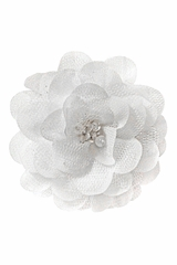 Bows Arts White Mini Sparkle Chiffon Flower