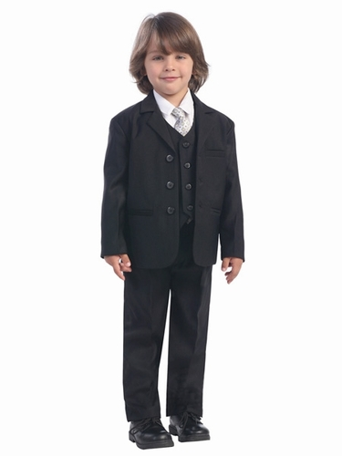 Boy's Black 5 Piece Suit