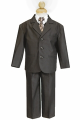 Boy's Brown 5 Piece Suit