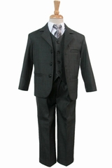 Boy's Dark Gray 5 Piece Suit