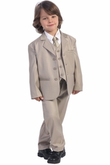 Boy's Khaki 5 Piece Suit