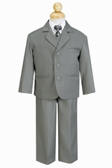 Boy's Light Gray 5 Piece Suit
