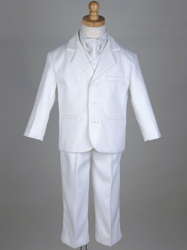 Boy's White 5 Piece Suit