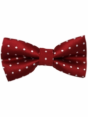 Boys Burgundy Polka Dots Print Wrap- Around Bowtie