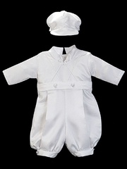 Boys Christening 2 Piece Satin Romper Set