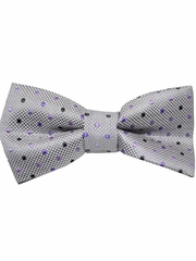 Boys Grey & Lilac  Polka Dots Print Wrap- Around Bowtie
