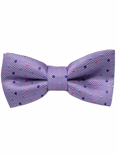 Boys Lilac Polka Dots Print Wrap- Around Bowtie