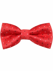 Boys Red w/ Black & White Polka Dots Print Wrap- Around Bowtie