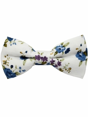Boys White Floral Print Wrap- Around Bowtie