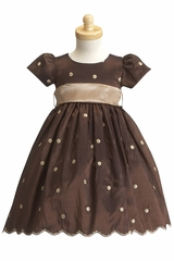 Brown/Champagne Taffeta Polka Dot Dress