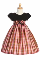 Brown Velvet Bodice w/Pink Plaid Skirt