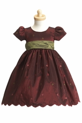 Burgundy/Green Taffeta Polka Dot Dress