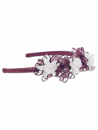 Burgundy Headband w/ White Rosebuds