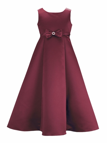 Burgundy Satin A-Line Flower Girl Dress