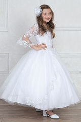 Calla Collection SY127 White Lace & Tulle Dress w/ Belle Sleeves