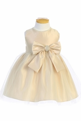 Champagne Sweet Kids SK781 Satin and Pearl w/ Tulle